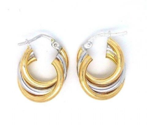 9ct Yellow and White Gold Russian Wedding Earrings with Snap Shut Bar Closure